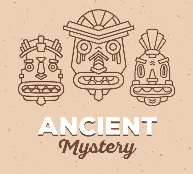 Vektorillustration des satzes der bunten masken des ethnischen stammes mit weißem text auf hellbraunem sandbeschaffenheitshintergrund. ethnische maske.