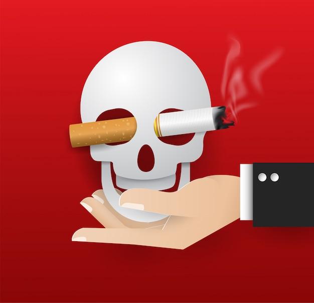 Vektorillustration des schädels an hand der nichtrauchentagewelt des konzeptes. kein tabaktag