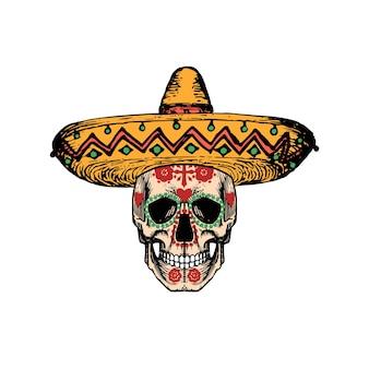 Vektorillustration des schädels im sombrero für dia de los muertos. tag des toten hintergrunds. designkonzept für partyeinladung, grußkarte.