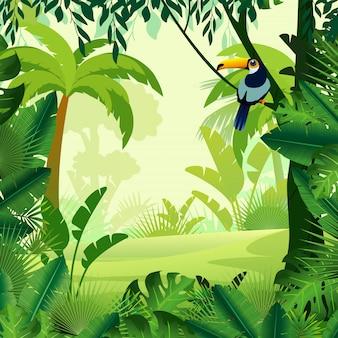 Vektorillustration des schönen hintergrundmorgendschungels. heller dschungel mit farnen und blumen. für designspiele, websites und mobiltelefone, drucken.