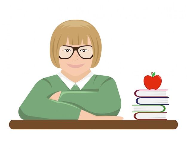 Vektorillustration des schülers hinter einer schulbank mit lehrbüchern.