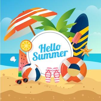 Vektorillustration des sommerstrandhintergrunds mit volleyballbrillen-surfbrett für soziale medien