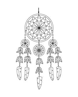 Vektorillustration des traumfängers im boho-stil. geheimnisvolles interieur