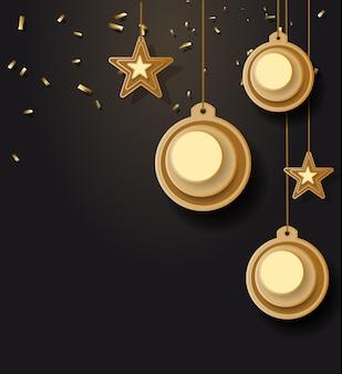 Vektorillustration des weihnachtshintergrundes mit weihnachtskugelstern schneeflocke konfetti gold und bla...