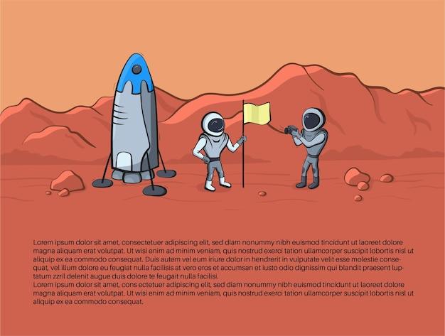 Vektorillustration des weltraumraketenstarts und des astronautenfotos auf dem planeten