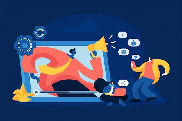 Vektorillustration des werbekonzeptes des sozialen netzwerks