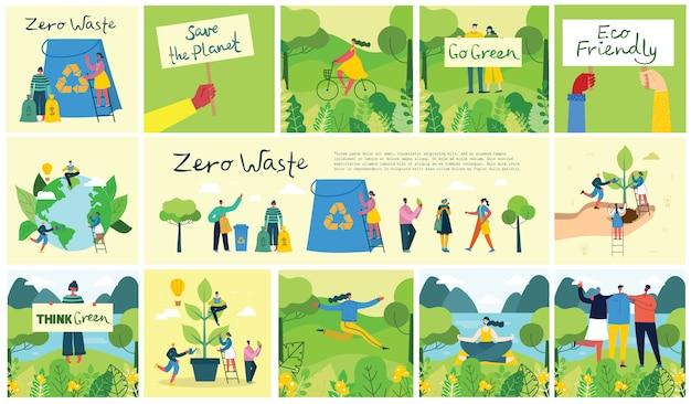 Vektorillustration eco hintergründe des konzepts der grünen öko-energie und des zitats speichern sie den planeten, denken sie grün und abfall recyceln sie