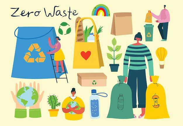 Vektorillustration eco-hintergründe des konzepts der grünen ökoenergie und des zitats rette den planeten, denke grün und recycele abfälle im flachen stil