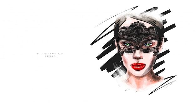 Vektorillustration. ein schönes mädchen mit hellem make-up in einer karnevalsmaske auf ihren augen.