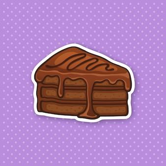 Vektorillustration ein stück kuchen mit schokoladenglasurcreme und fondant