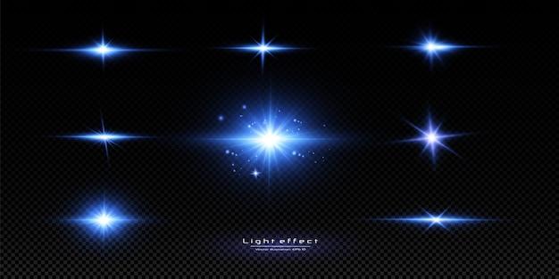Vektorillustration einer blauen farbe. reihe von lichteffekten. blitze und blendungen. helle lichtstrahlen. leuchtende linien.