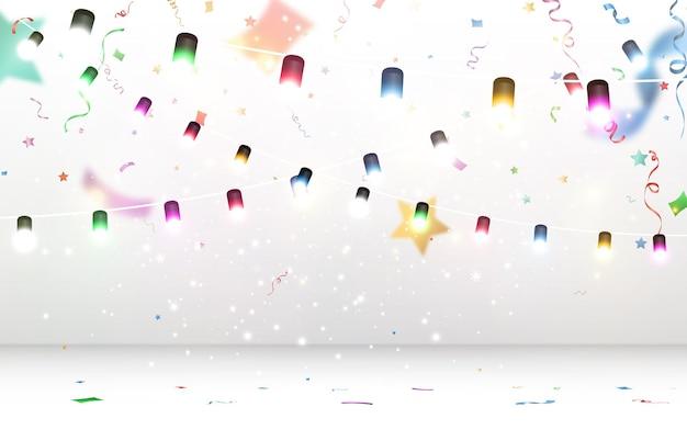Vektorillustration einer hellen girlande auf einem transparenten hintergrund