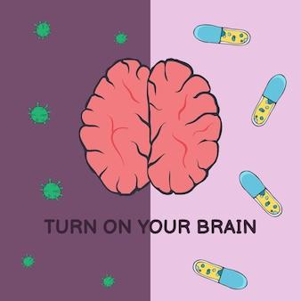 Vektorillustration einer postkarte mit einem menschlichen gehirn und viren