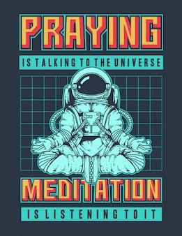 Vektorillustration eines astronauten, der meditation im raum mit retro 90s farben und raum tut.