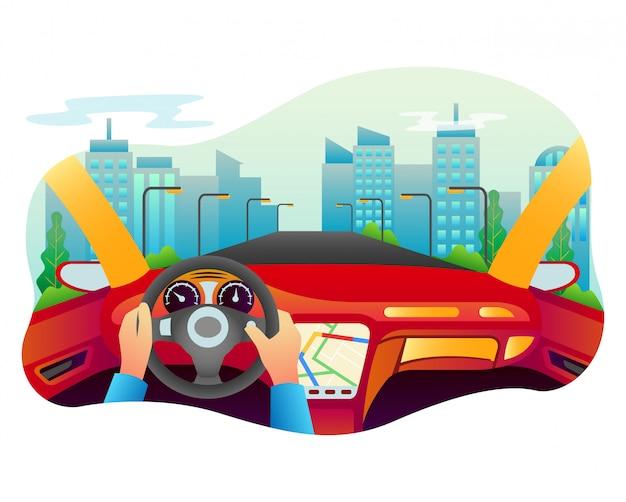 Vektorillustration eines autos mit vielen hoch entwickelten innenräumen.