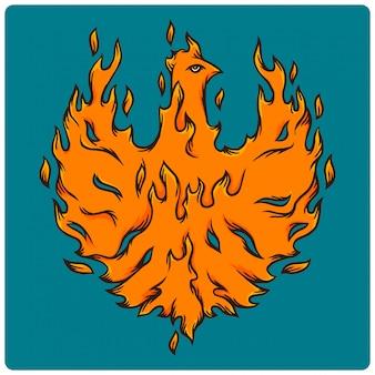 Vektorillustration eines brennenden vogels