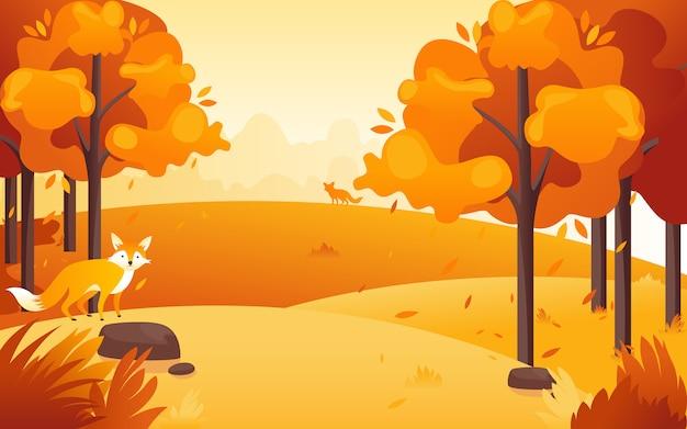 Vektorillustration eines flachen entwurfs von einer nachmittagsansicht am park, wenn die sonne mit einem entzückenden kleinen fuchs untergeht.