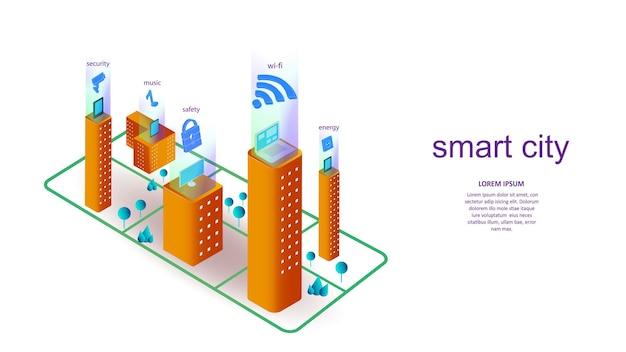 Vektorillustration eines gebäudes mit elementen einer intelligenten stadt. wissenschaft, futuristisch, web, netzwerkkonzept, kommunikation, hochtechnologie. eps 10.