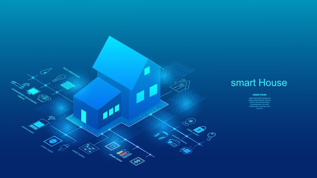 Vektorillustration eines gebäudes mit elementen eines smart-home-systems. wissenschaft, futurismus, netzwerkkonzept, kommunikation, hochtechnologie.