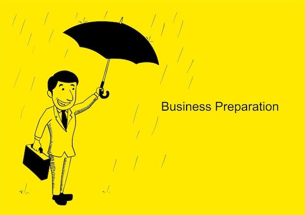 Vektorillustration eines geschäftsmannes, der mit regenschirm am regnerischen tag, karikaturillustration steht