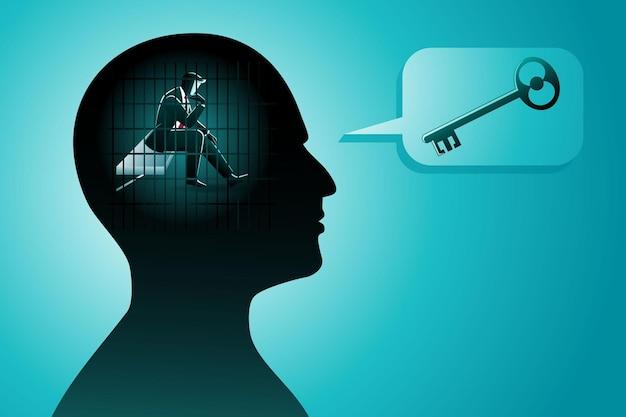 Vektorillustration eines geschäftsmannes im menschlichen kopf, der im gefängnis ist, während er an einen schlüssel denkt, symbol der problemlösung