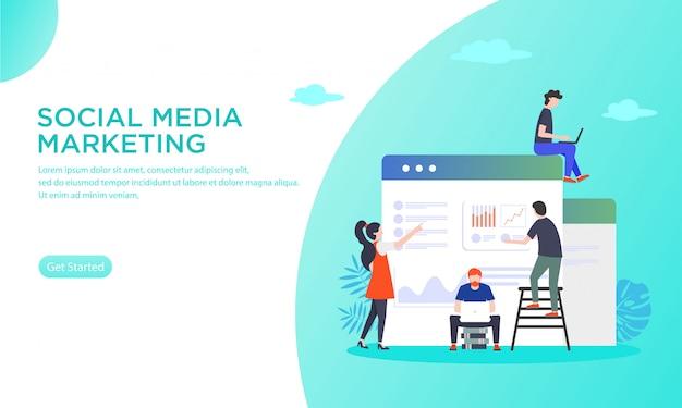 Vektorillustration eines handhabenden social media marketings