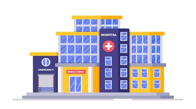 Vektorillustration eines internationalen krankenhauses ein großes krankenhaus, das das hauptgebäude errichtet
