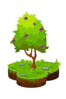 Vektorillustration eines isometrischen karikaturbaums und einer bodenfläche.