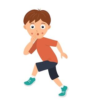 Vektorillustration eines jungen, der sich still schleicht und einen finger an seinem mund im zeichen der stille hält. kid geht vorsichtig und bittet ihn oder sein geheimnis nicht preiszugeben.
