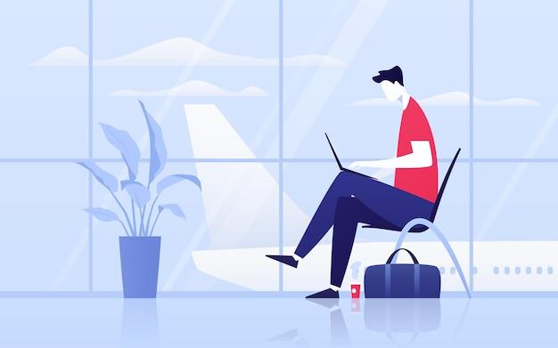 Vektorillustration eines jungen mannes mit laptop, der in der abflughalle am flughafen sitzt