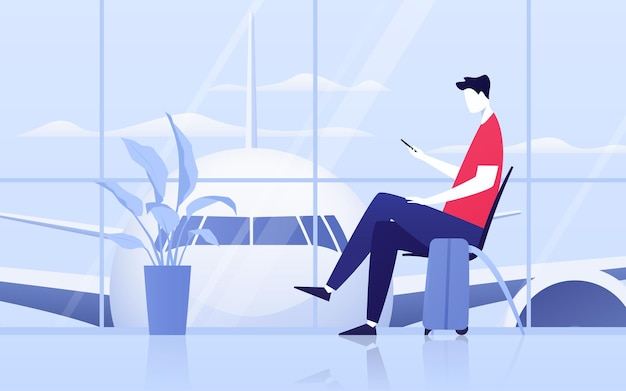 Vektorillustration eines jungen mannes mit telefon, der in der abflughalle am flughafen sitzt