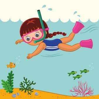 Vektorillustration eines kleinen mädchens, das unter dem meer schwimmt