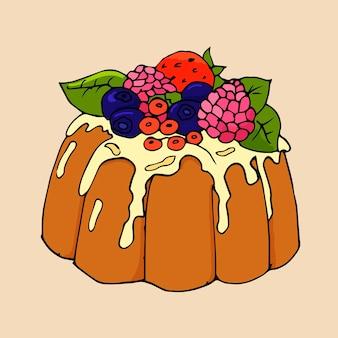 Vektorillustration eines köstlichen kuchens mit verschiedenen früchten und beeren