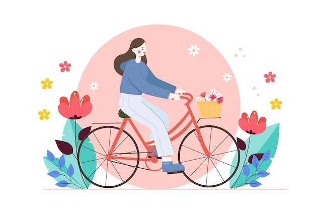 Vektorillustration eines mädchens, das ein fahrrad reitet