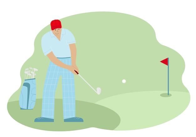 Vektorillustration eines männlichen golfspielers beim schlagen des balls