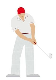 Vektorillustration eines männlichen golfspielers mit einem golfschläger