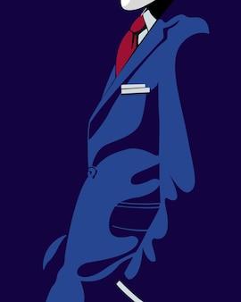 Vektorillustration eines mannes im anzug mit einem einfachen und minimalistischen stil, aber immer noch modern