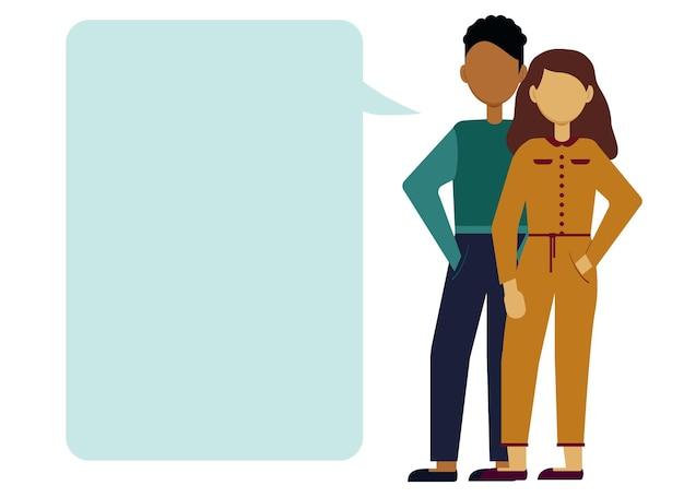 Vektorillustration eines mannes und einer frau, die einen dialog führen. blasen für text