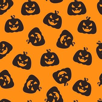 Vektorillustration eines musters von kürbisgesichtern endloser zeichnung für den halloween-urlaub