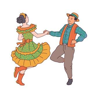 Vektorillustration eines paares, das an einer festa junina partei tanzt