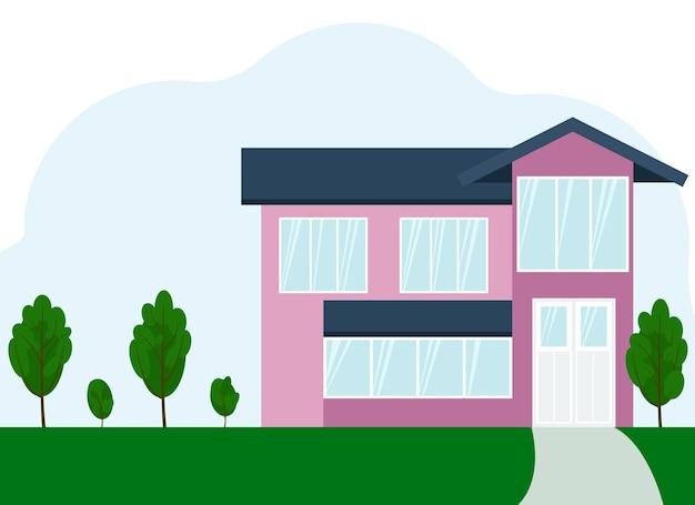 Vektorillustration eines rosafarbenen zweistöckigen wohngebäudes mit großen fenstern. isoliert