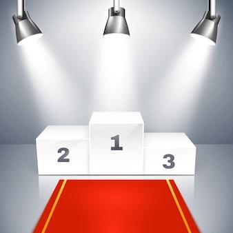 Vektorillustration eines roten teppichs, der zu einem leeren siegerpodest mit drei stellen führt, die durch metallische überkopfscheinwerfer beleuchtet werden