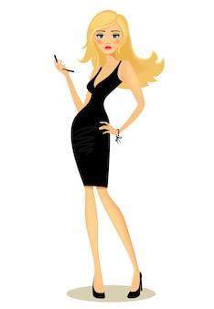 Vektorillustration eines schönen kurvenreichen glamourösen mädchens mit langen blonden haaren in einem schwarzen kleid, das mit ihrer hand auf ihrer hüfte aufwirft, die ein handy auf weiß hält