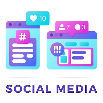 Vektorillustration eines social media-kommunikationskonzeptes. das wortsocial media mit bunten plattformübergreifenden browserfenstern