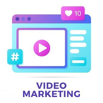 Vektorillustration eines social media-kommunikationskonzeptes. videomarketing-wort mit sozialer aktivität in einer mitteilungsblase.