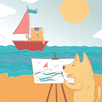 Vektorillustration eines sommerurlaubs auf see. schöner hund und katze verbringen ihre ferien auf see. vorlage für grußkarte.