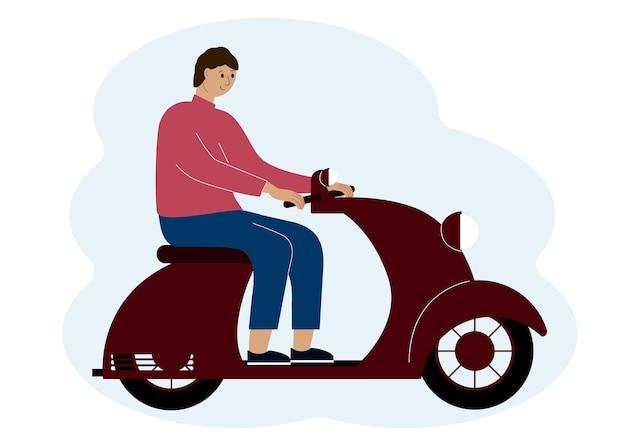 Vektorillustration eines stilvollen mannes, der einen roller fährt