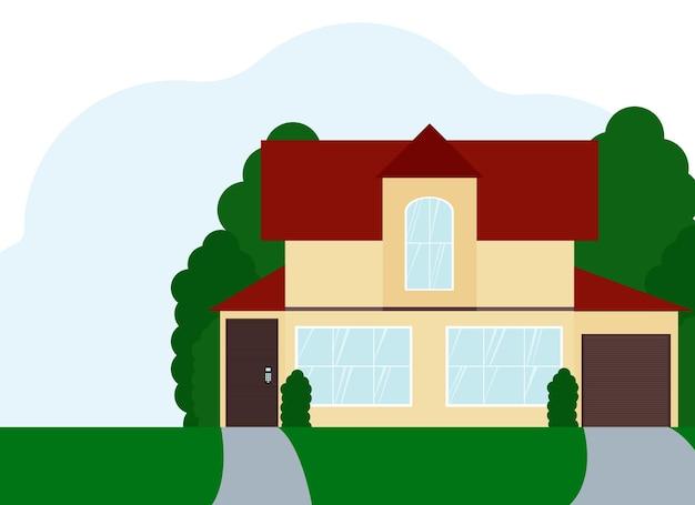 Vektorillustration eines zweistöckigen wohngebäudes mit großen fenstern. isoliert