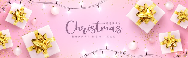 Vektorillustration. festliche grußkarte mit neujahr und frohen weihnachten, mit geschenken, luftballons, girlande und konfetti.
