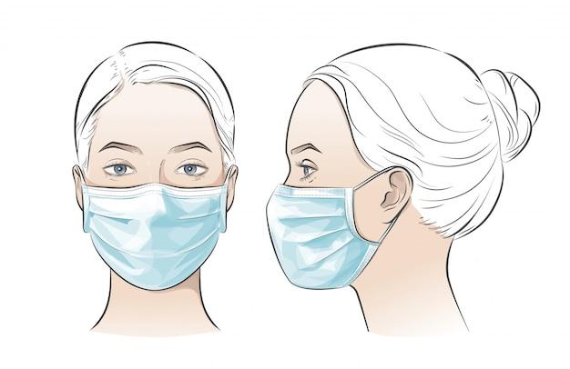 Vektorillustration frau, die medizinische chirurgische einweggesichtsmaske trägt.